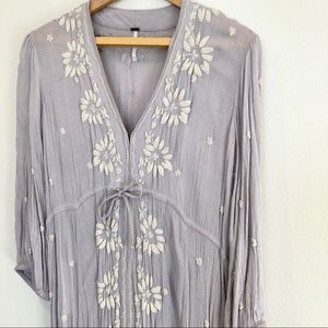 Free People Lilac Embroidered Bohemian Dress M